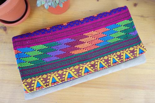 Colorful / Khaki Chiapas clutch bag