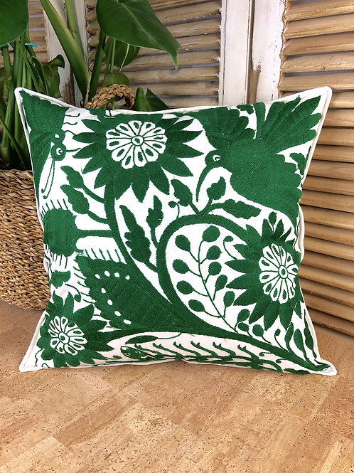 Otomi cushion cover - Emerald green