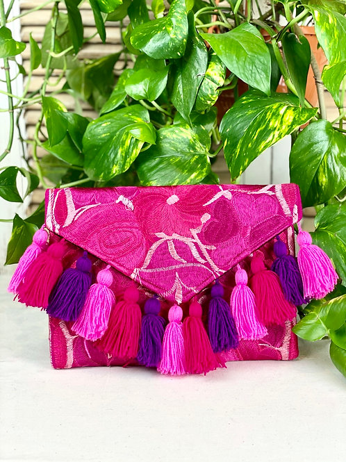 Las Flores clutch bag - Rosa
