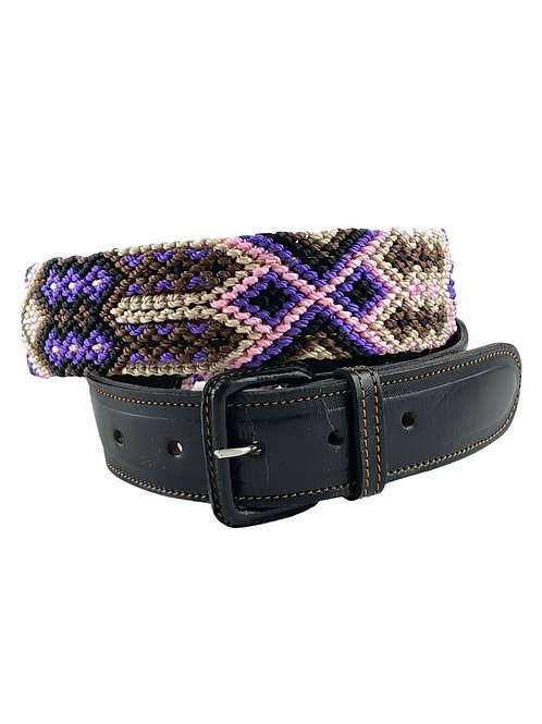 """Leather belt with woven macrame  Size M /  36"""""""