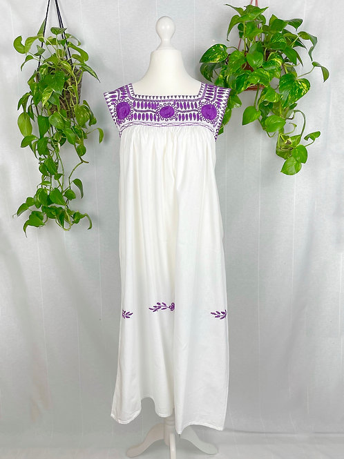 Aguacatenango dress - Purple embroidery