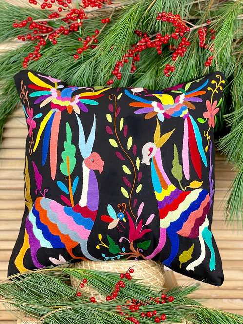 Otomi cushion cover - Multicolor on black #3