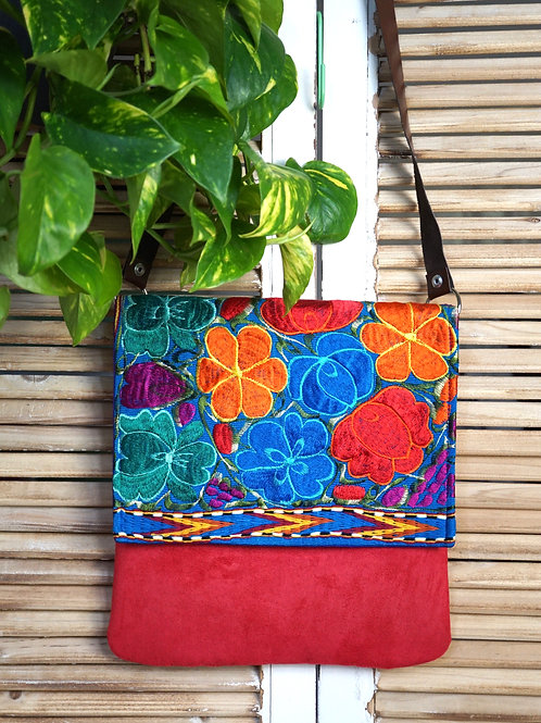 Cross body messenger bag - Flores de Abril dark brown strap
