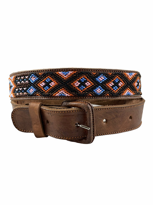 Leather belt with woven macrame  Size M /  34""
