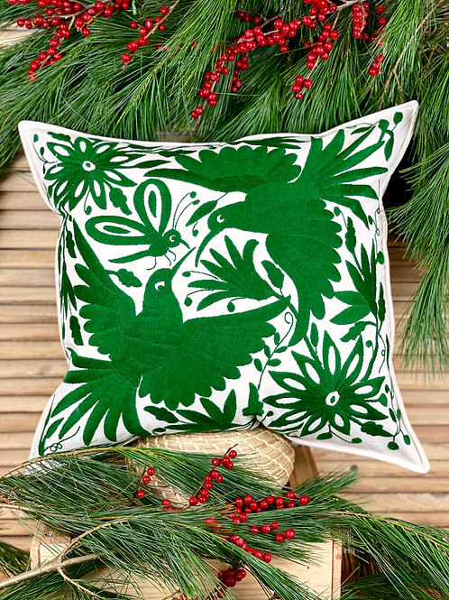 Otomi cushion cover - Emerald green