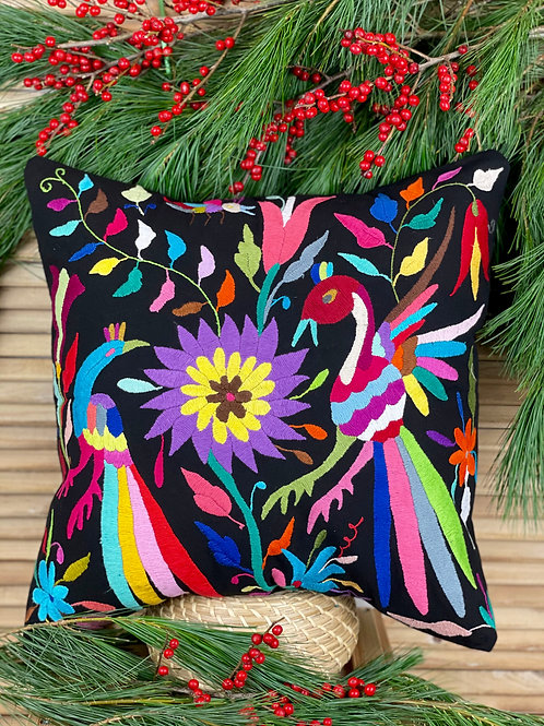 Otomi cushion cover - Multicolor on black #6