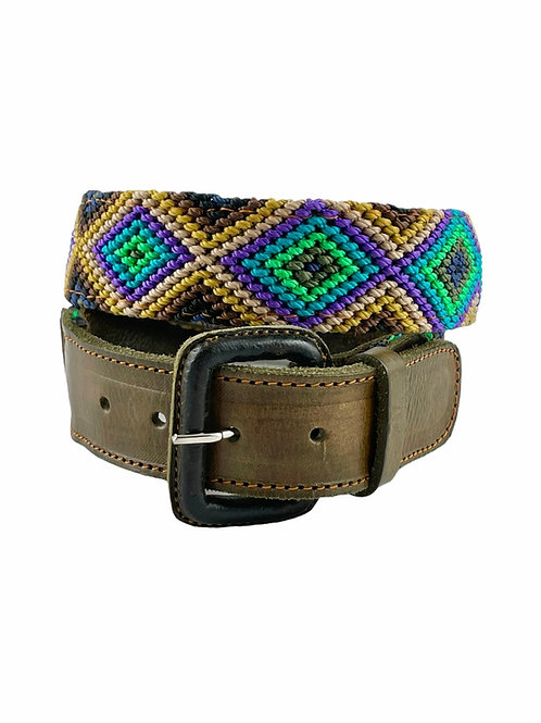 Leather belts with woven macrame  Size S / 30""