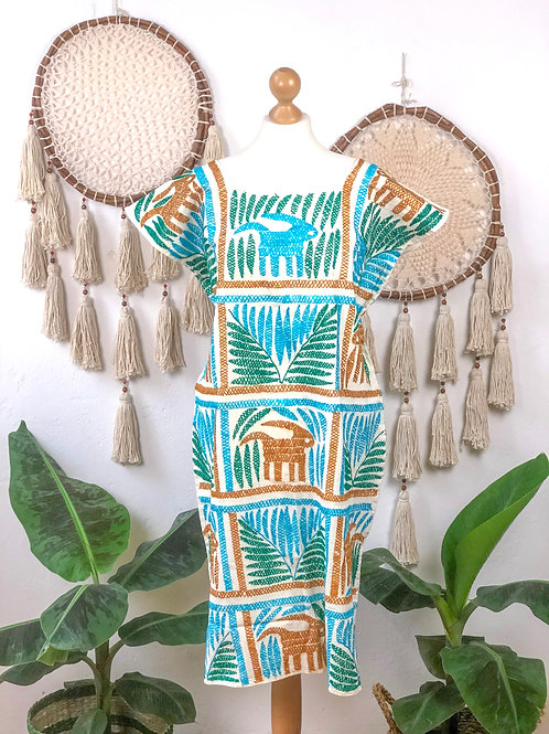Palmita dress turquoise, green and camel