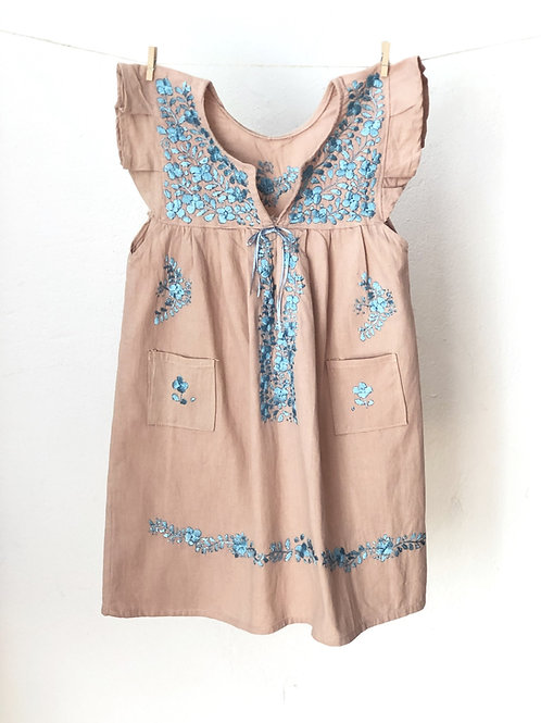 San Antonino dress - Size 6 - Dusty pink with baby blue flowers