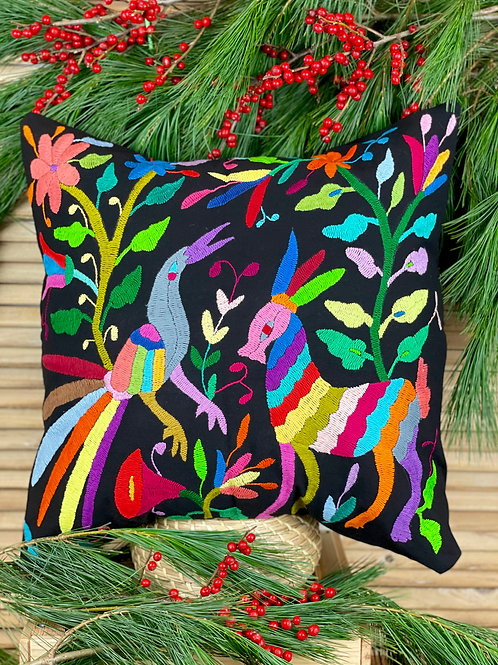 Otomi cushion cover - Multicolor on black #4