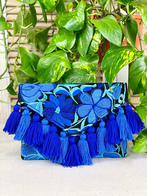 Las Flores clutch bag - Azul