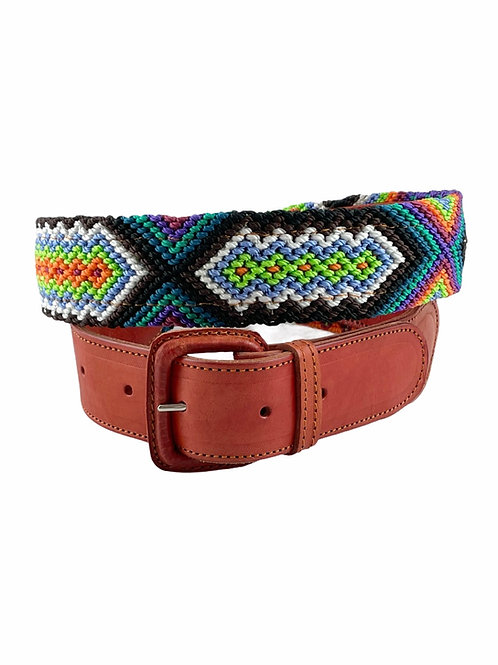 """Leather belts with woven macrame  Size Large / 38"""""""