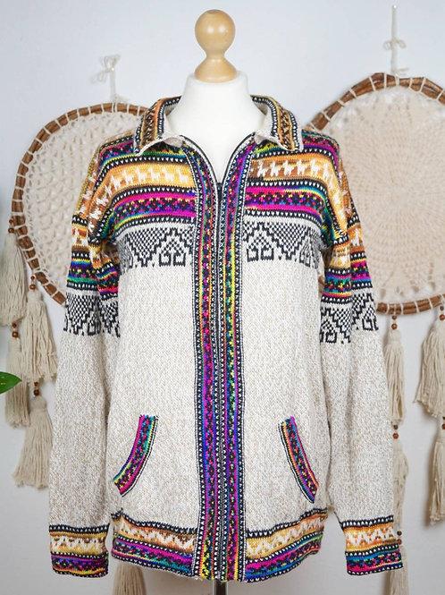 Unisex Alpaca sweater multicolor beige