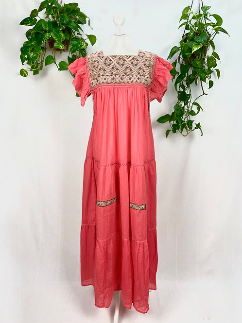 Coral maxi dress Andrea - One size fits all