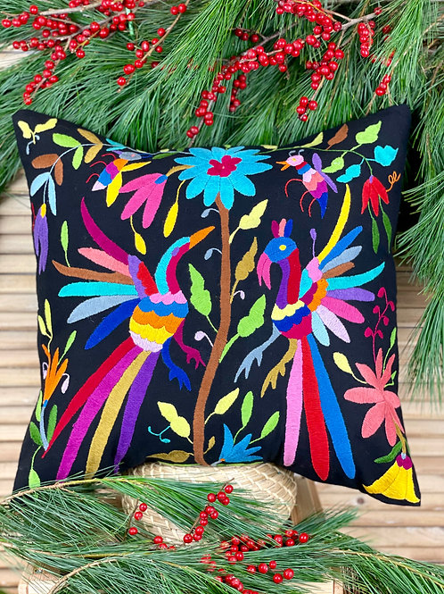 Otomi cushion cover - Multicolor on black #2