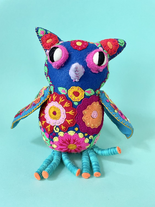 Hand embroidered felt owl