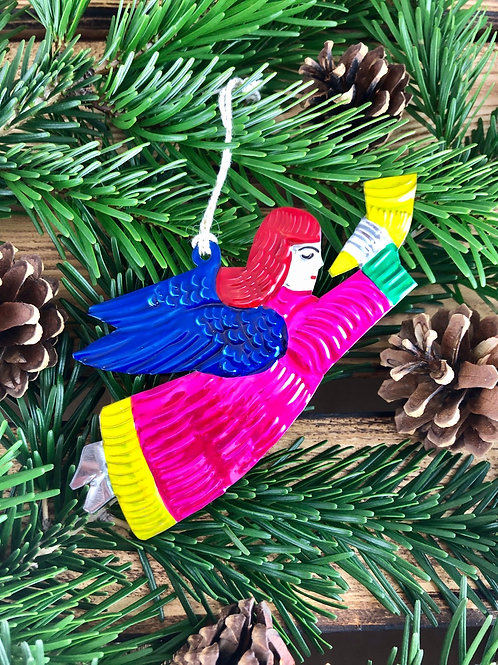 Angel with horn - Christmas Tree Tin ornament