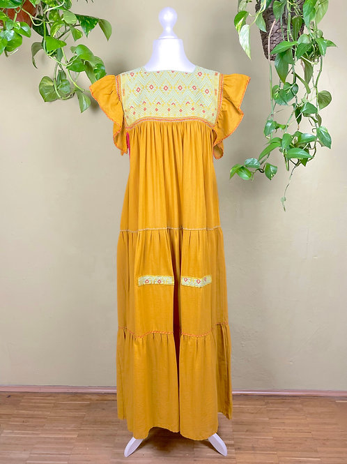 Maxi dress Andrea -  Mustard - One size fits all