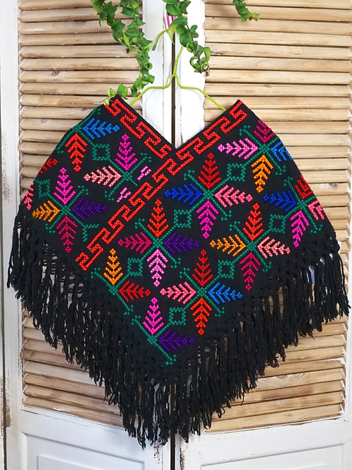 Quexquemitl - Black with multicolor