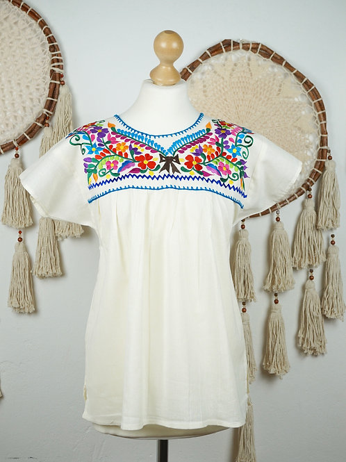 S-M / Tehuacan blouse - White and multicolor