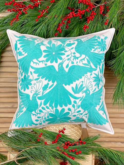 Otomi cushion cover - Aquamarine
