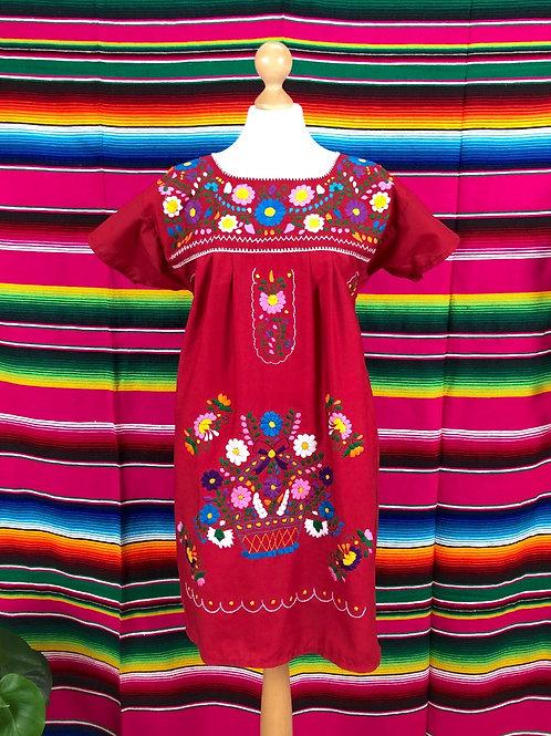 Red Puebla dress - Medium