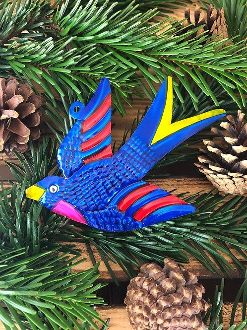 Blue Swallow - Christmas Tree Tin ornament