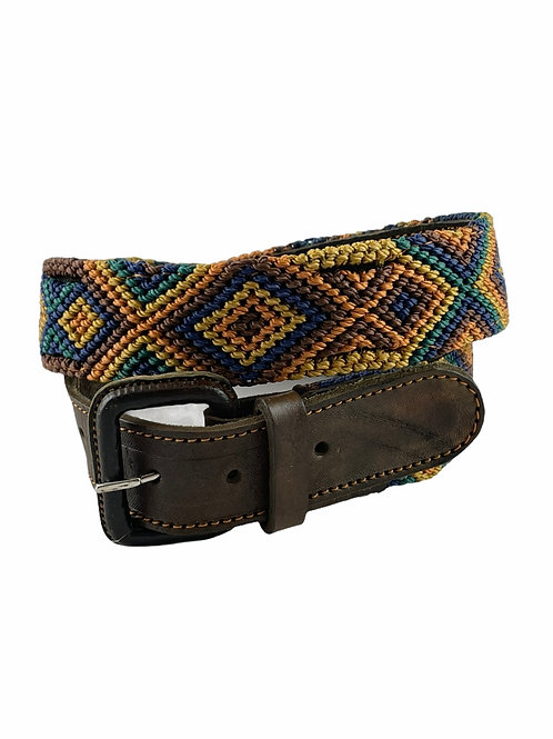 """Leather belts with woven macrame  Size S/M   32"""""""