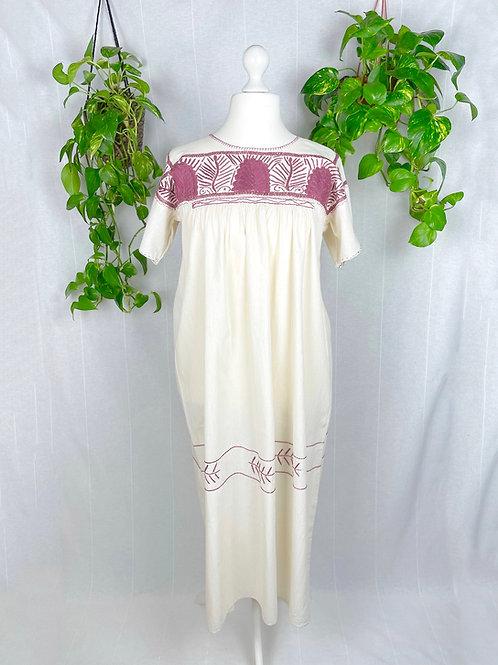 Aguacatenango dress - Mauve embroidery XL
