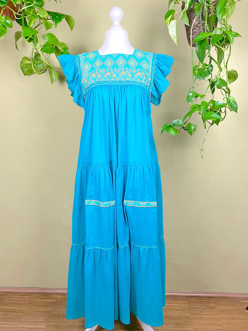 Maxi dress Andrea -  Cerulean blue - One size fits all