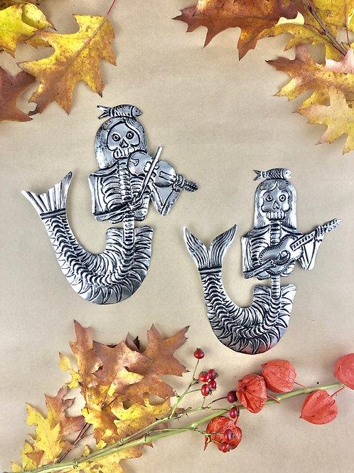 Musician skeleton mermaid