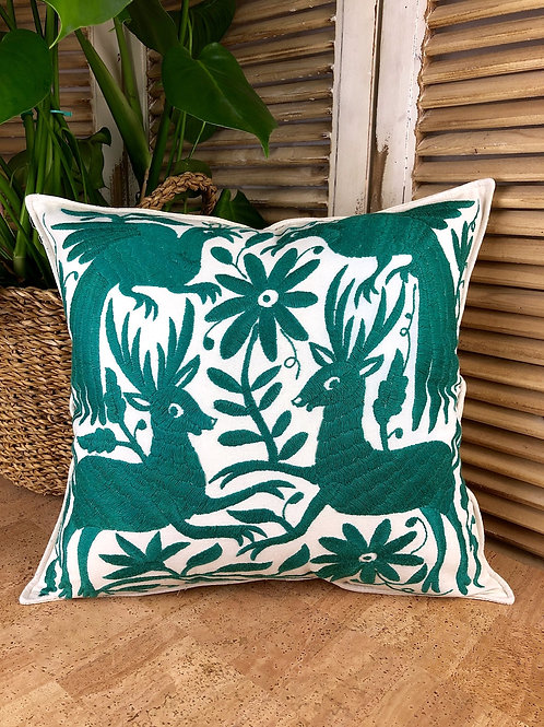 Otomi cushion cover - Pine green