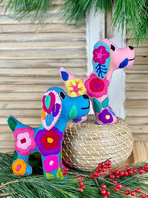 Hand embroidered dog