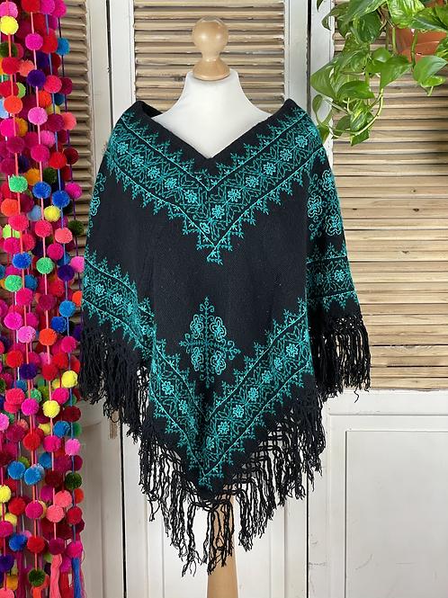Quexquemitl - Black and turquoise