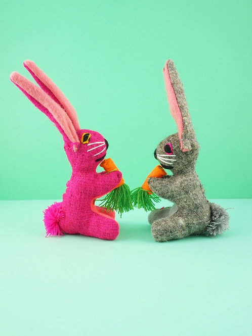 Handmade wool rabbits