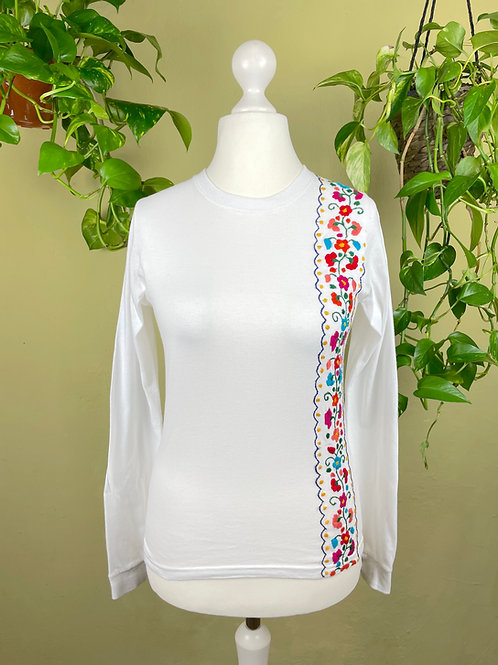 Tehuacan flowers long sleeve t-shirt / Small size