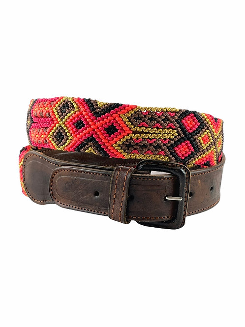 Leather belt with woven macrame  Size XL / 40¨-42""