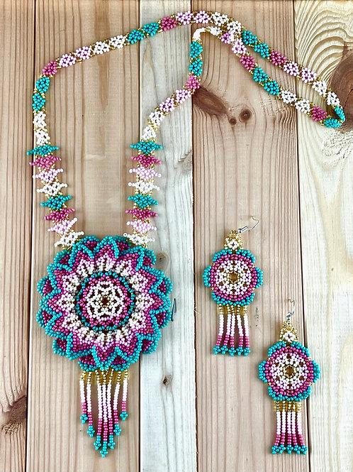 Mandala flower - Huichol necklace and earrings set