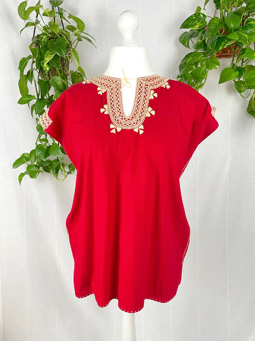 Chenalho blouse - Red with beige