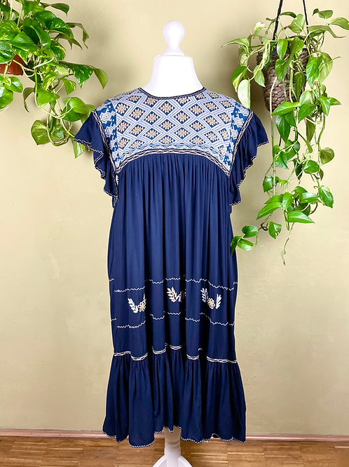 Midi dress Andrea - Navy blue - L/XL