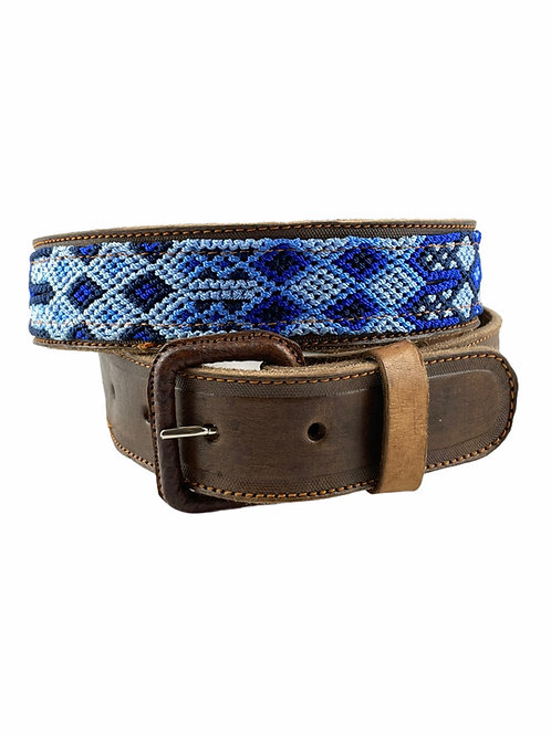 """Leather belts with woven macrame  Size 34"""""""