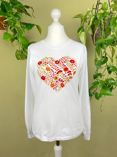 Tehuacan heart long sleeve t-shirt / Medium size