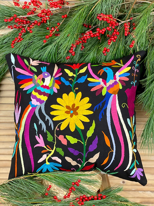 Otomi cushion cover - Multicolor on black #1