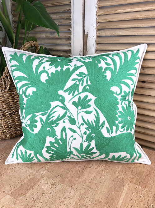 Otomi cushion cover - Shamrock green