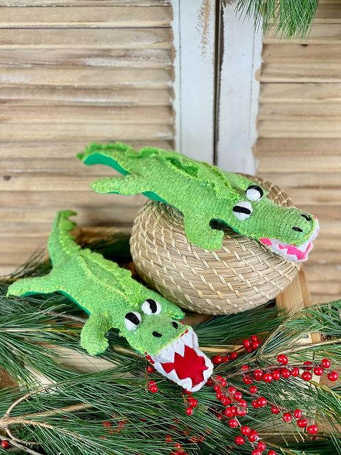 Handmade wool crocodile