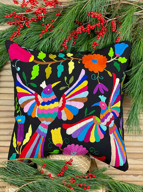 Otomi cushion cover - Multicolor on black #5