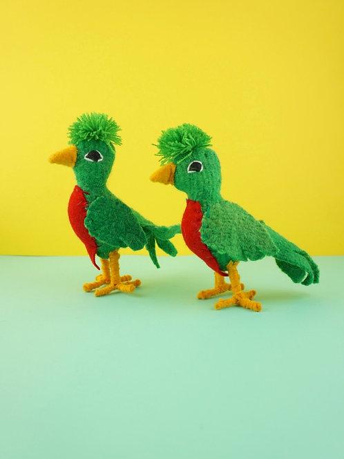Handmade wool parrots