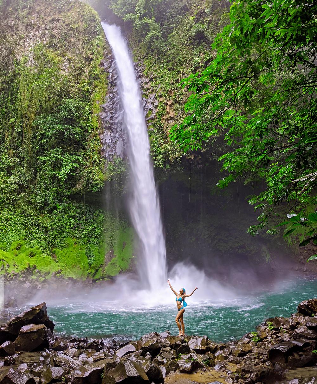 Model AJ Knapp Swimwear Photoshoot at La Fortuna Waterfall in Costa Rica