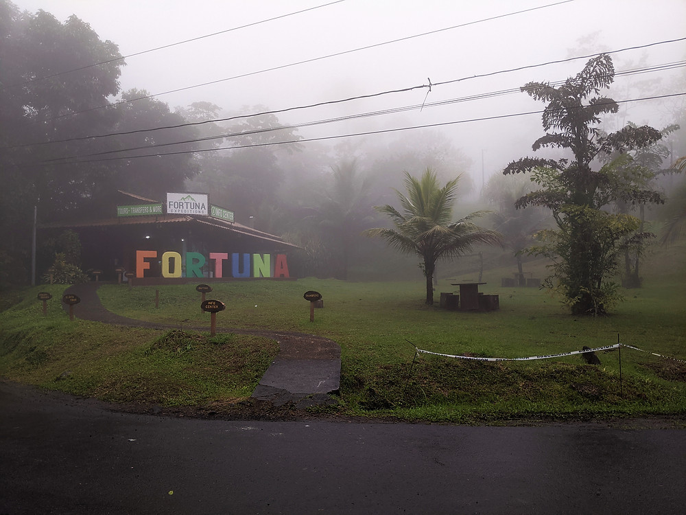 Entrance to La Fortuna Waterfall on a foggy morning Arenal area Costa Rica