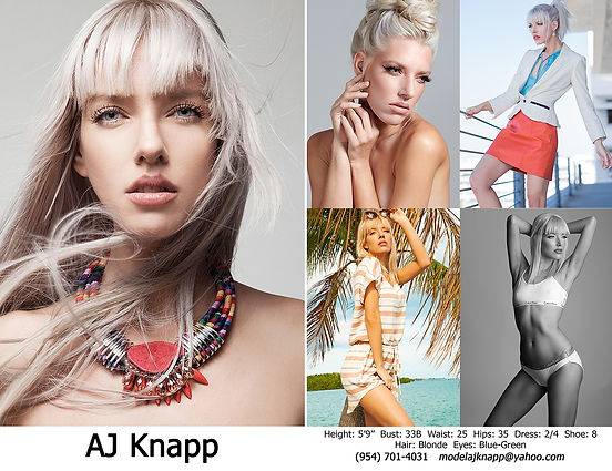 AJ Knapp Fashion Model Comp Card